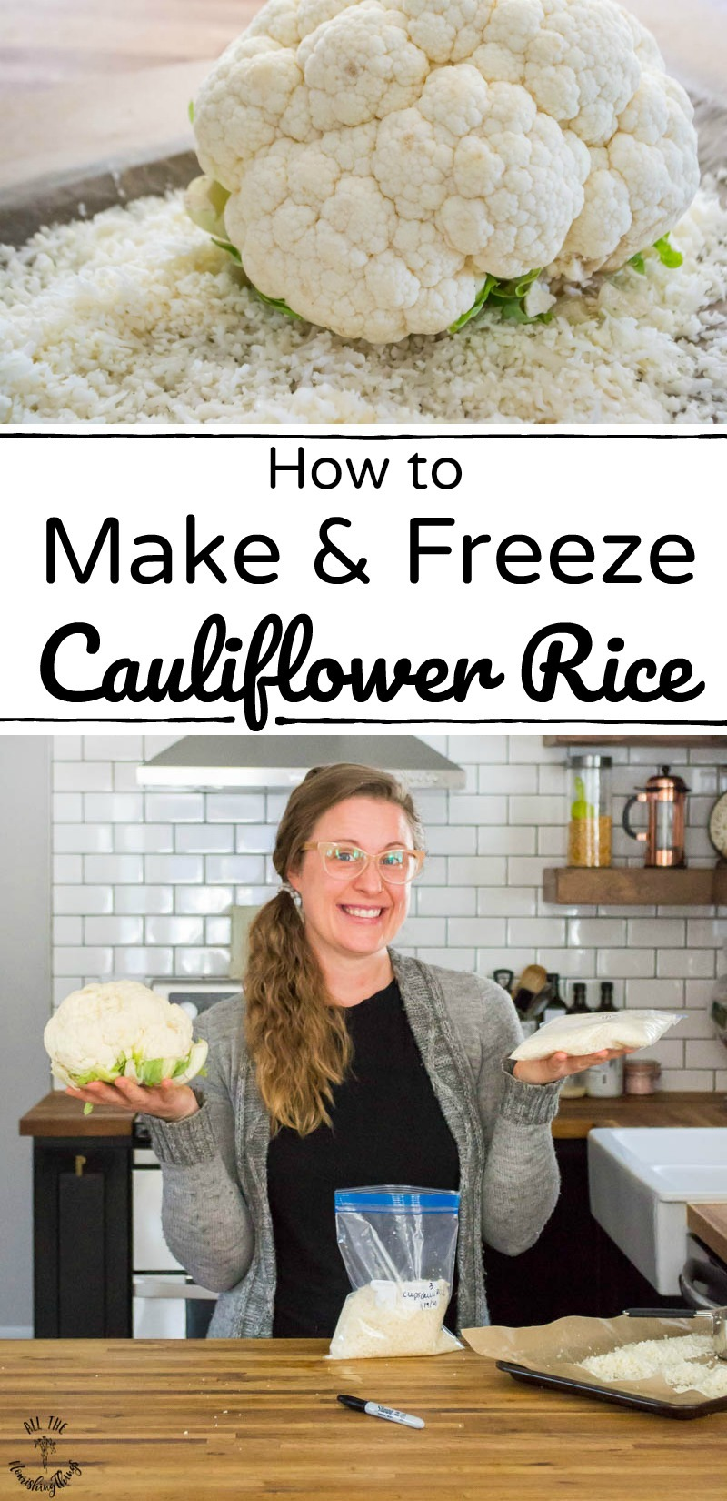 collage of images about making and freezing cauliflower rice with text overlay
