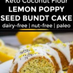 collage of 2 images of keto lemon poppyseed cake with text overlay