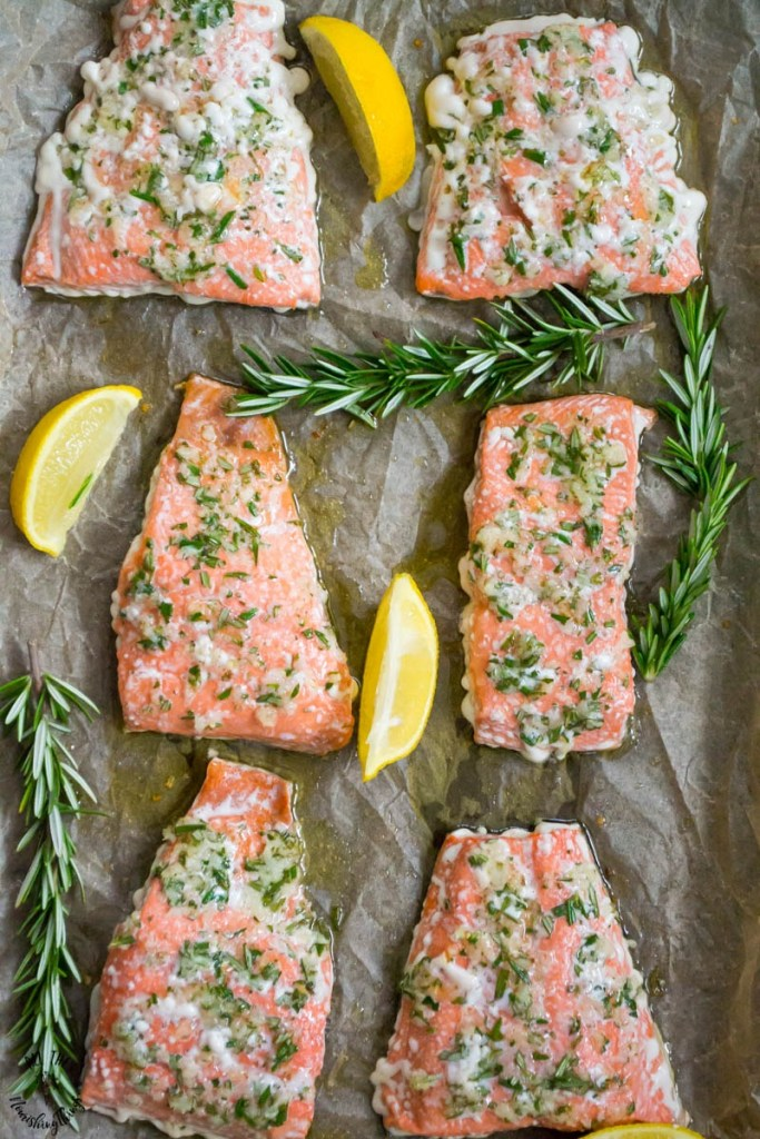 Sheet Pan Salmon with Garlic & Rosemary (Whole30, paleo, keto)