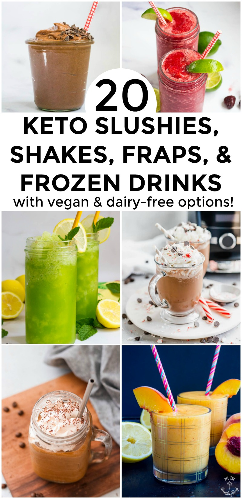 collage of colorful keto frozen slushies, fraps, shakes, and frozen drinks with text overlay