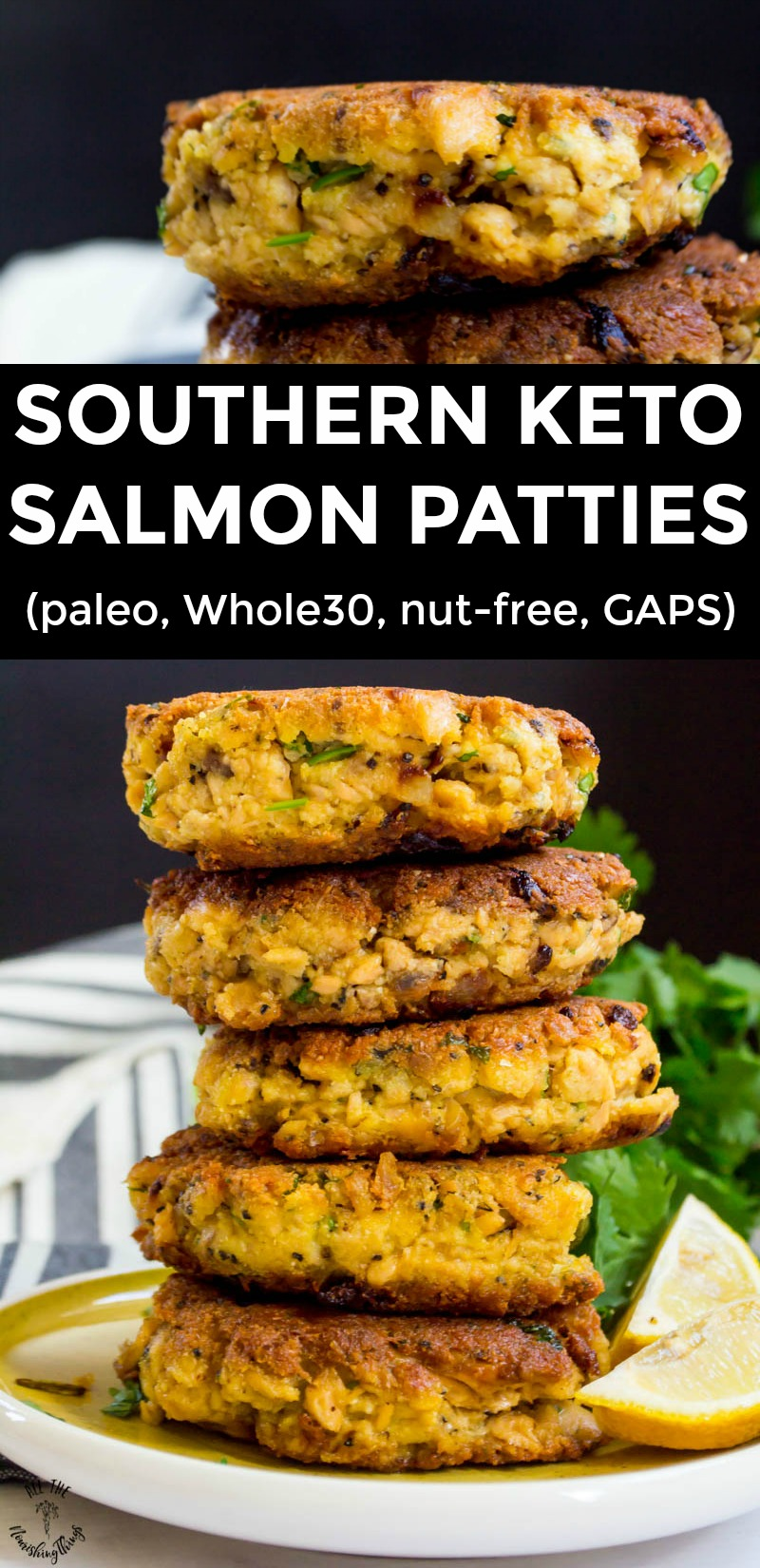 stack of 5 keto salmon patties with lemon wedges and a text overlay