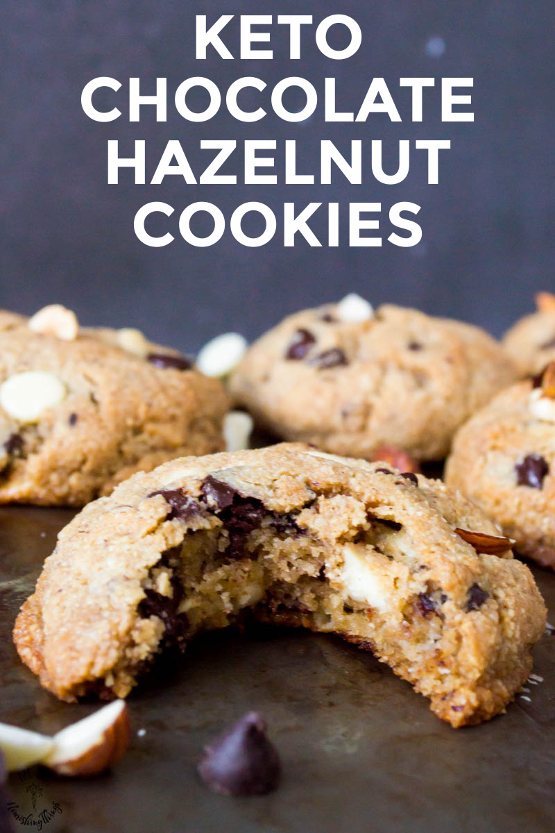 stack of keto chocolate hazelnut cookies with white words