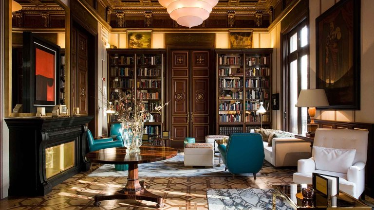 Library, Cotton House Hotel.