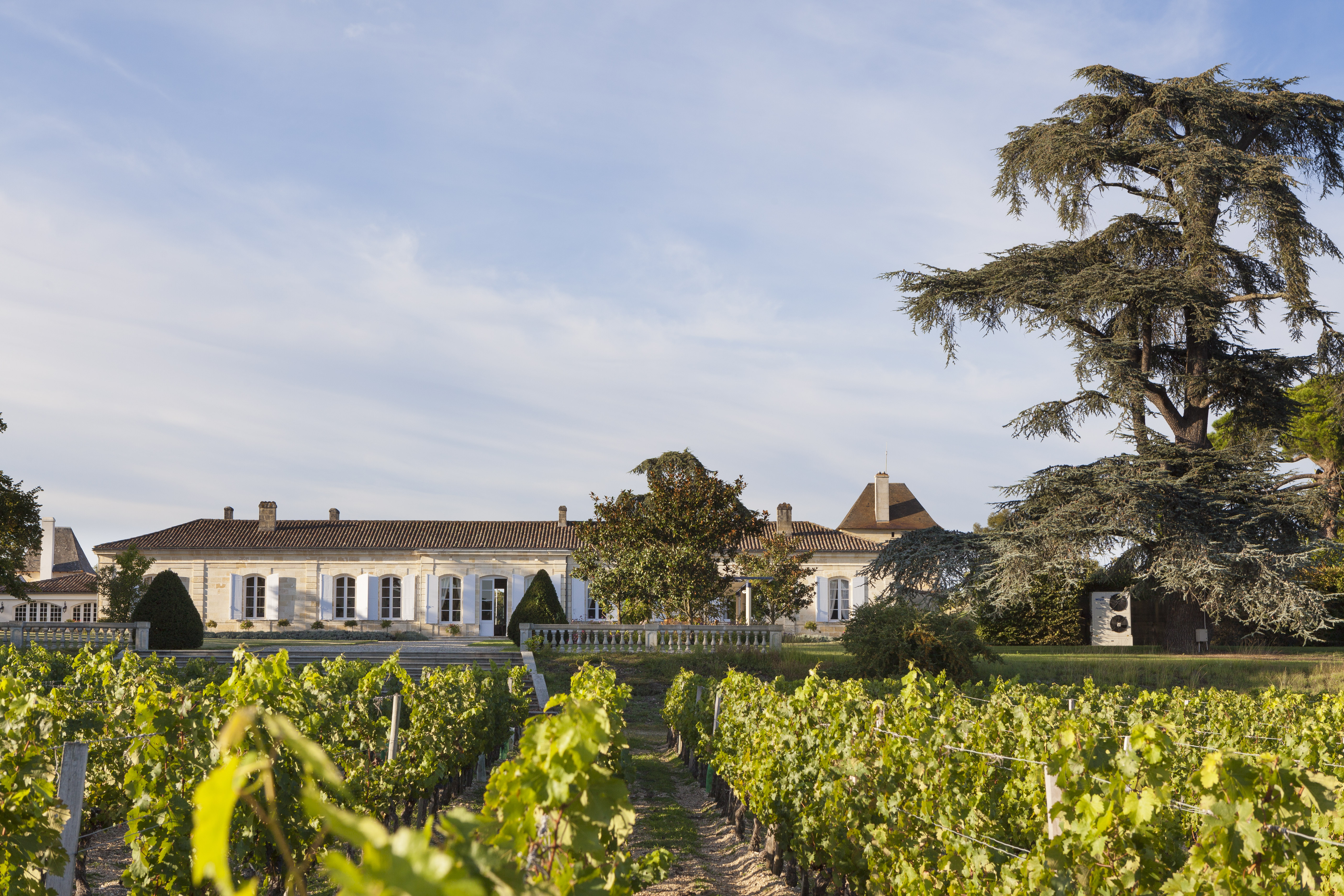 An 18th Century French chateau with vineyards in the front.