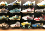16 colorful athletic shoes, 4 high and 4 wide