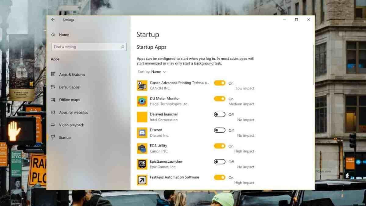 Manage Startup Apps Windows 10
