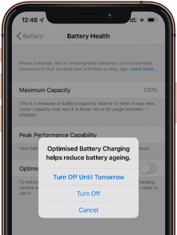 Turn Off Optimized Battery Charging