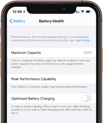Turn Off Optimized Battery Charging iOS 13