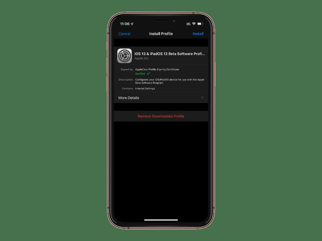 iOS 13 beta profile iPhone Install
