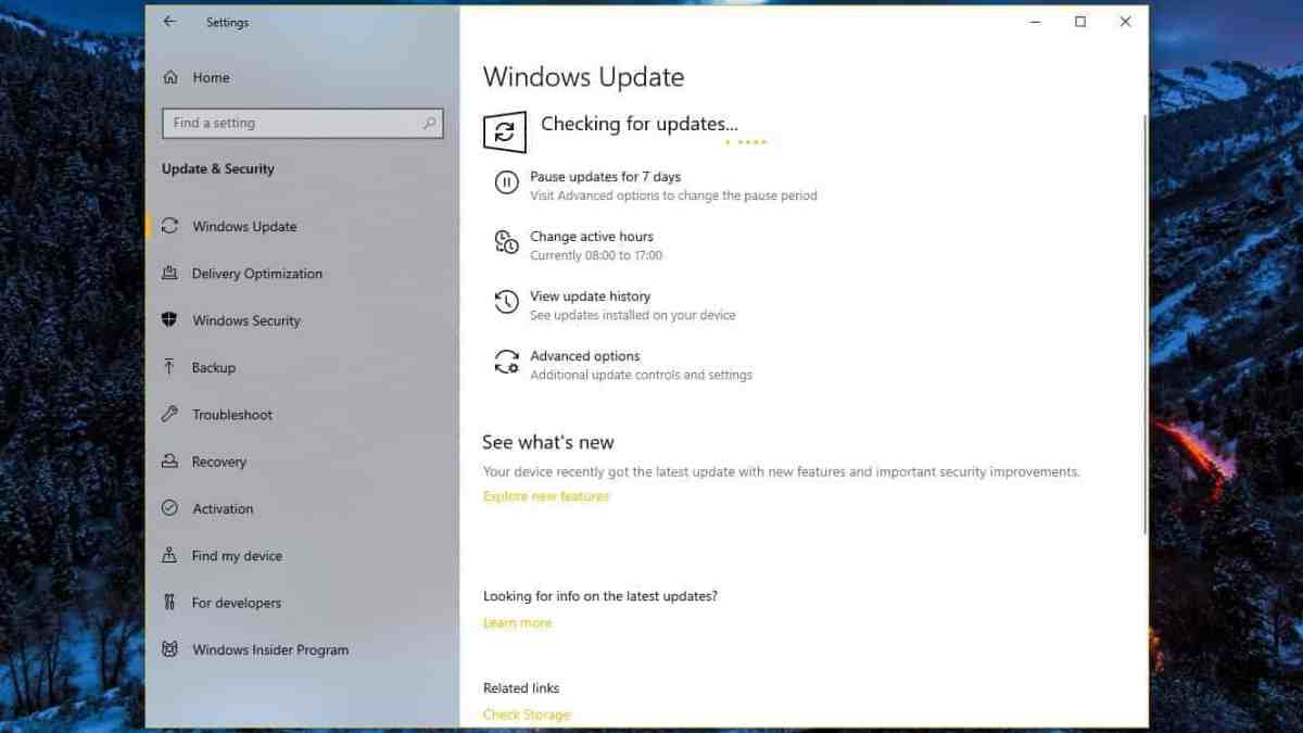 Windows 10 Checking for Updates