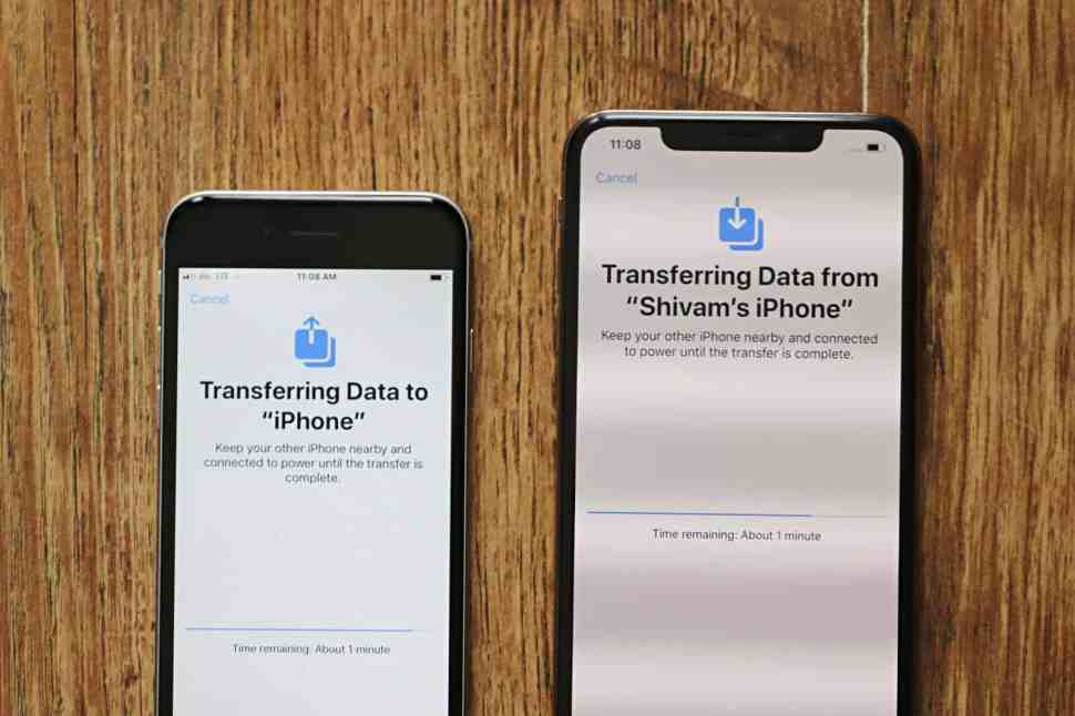 Tranferring data from iPhone to iPhone wirelessly during setup