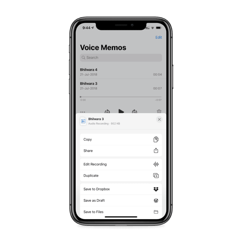 Share Voice Memo iPhone