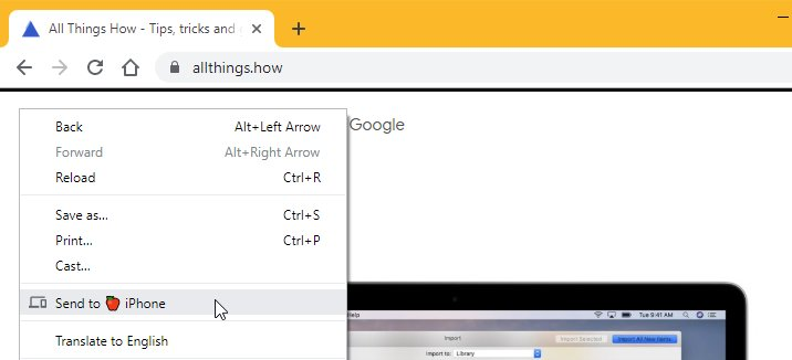 Chrome Send Tab to Device Feature