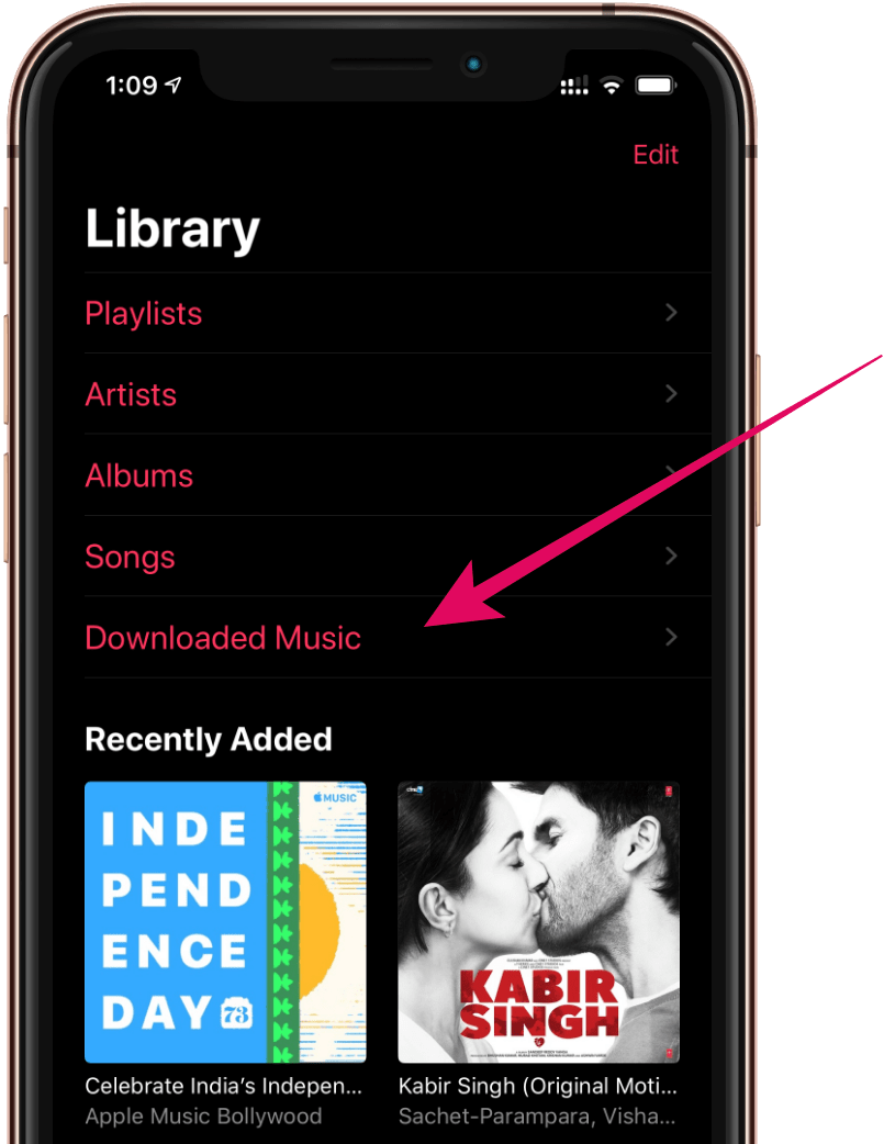 Downloaded Music Option Apple Music iPhone