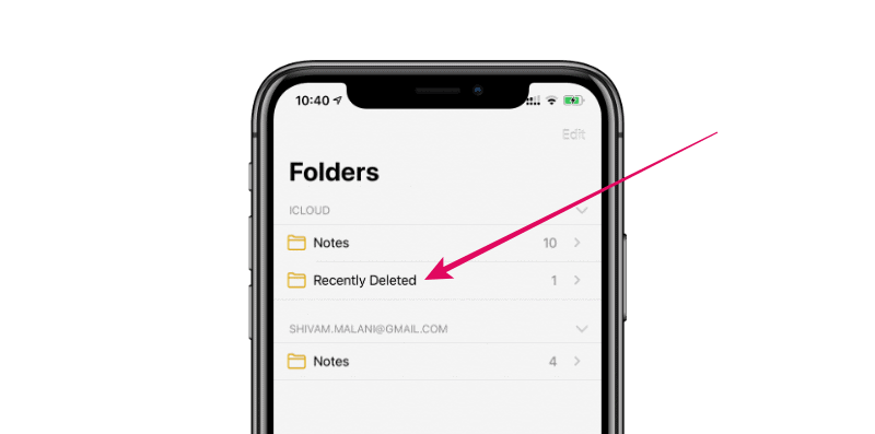 iPhone Notes Recently Deleted
