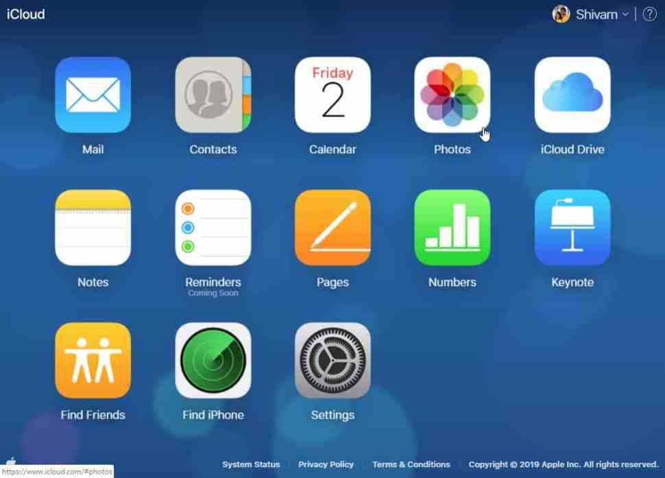 iCloud Dashboard Menu Photos