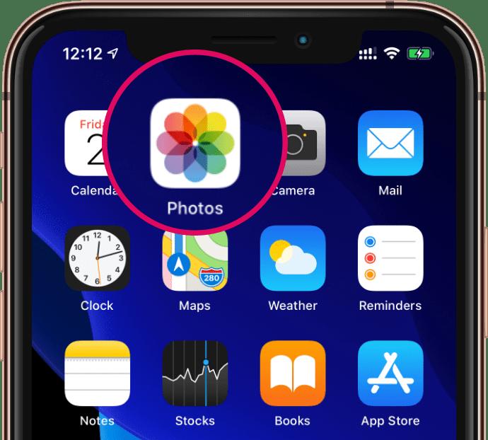 Open Photos App icon iPhone