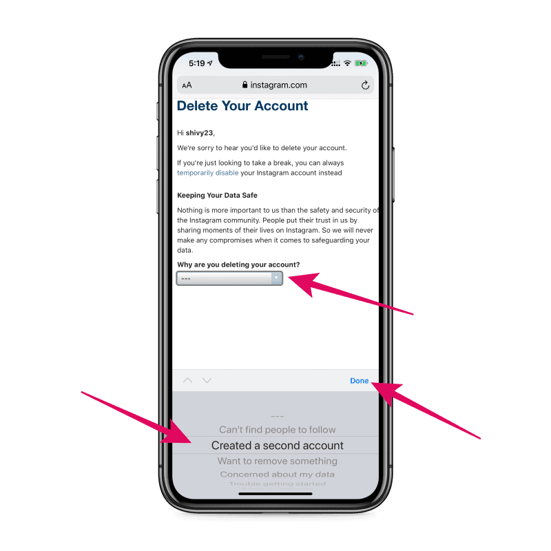 Select reason for deleting Instagram account on iPhone
