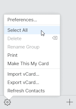 Select all contacts iCloud