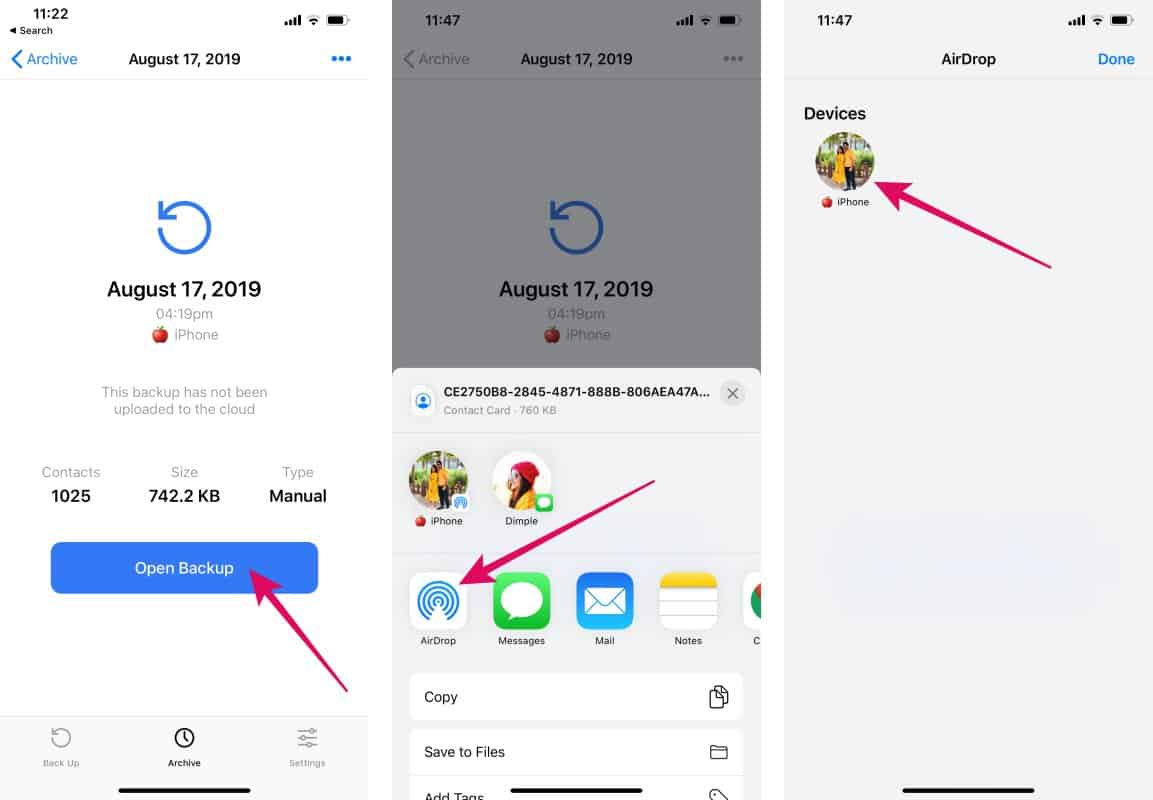 Transfer contacts iPhone to iPhone via AirDrop