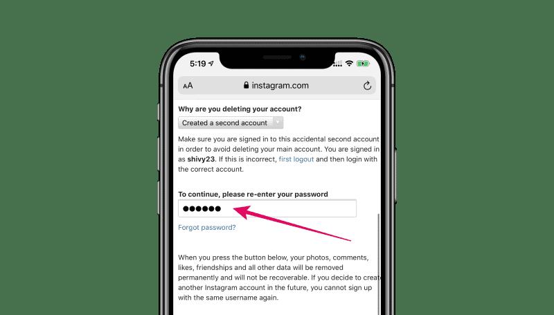 Enter password Instagram account delete iPhone