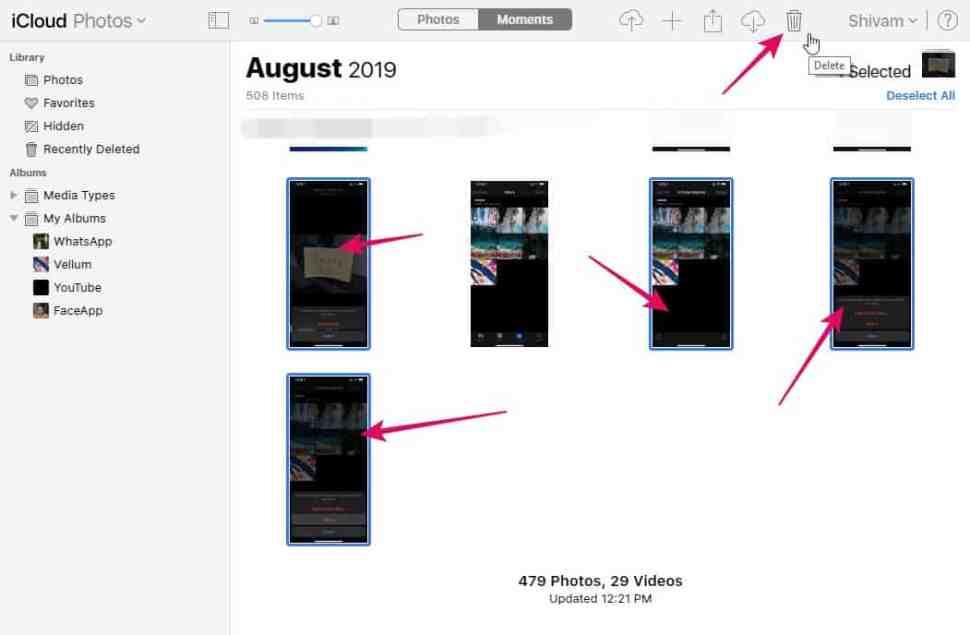 Delete iCloud Photos iPhone Select Multiple Photos