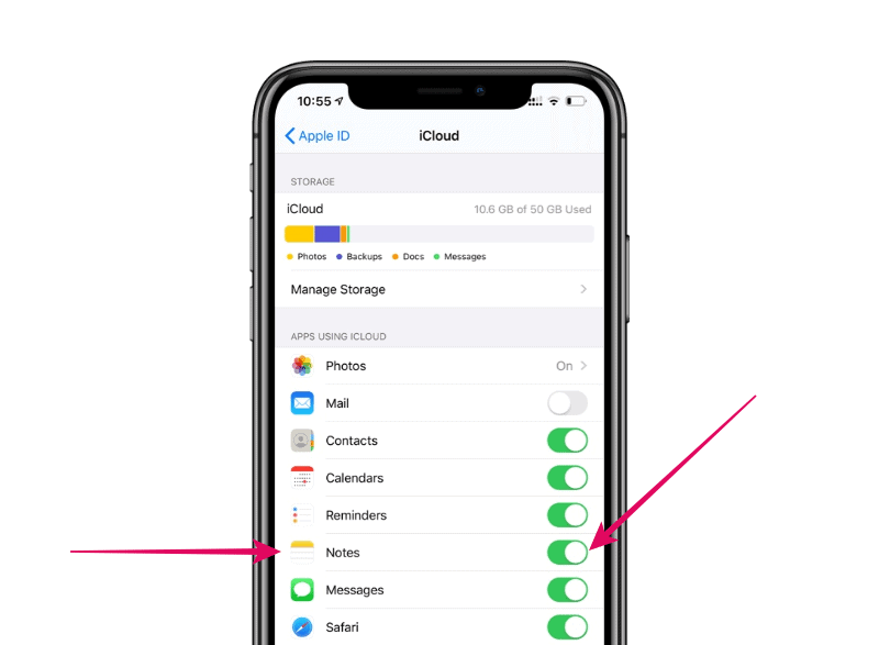Notes sync iCloud iPhone