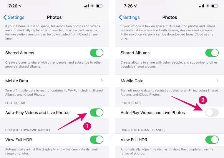Turn off auto-play videos and live photos iPhone