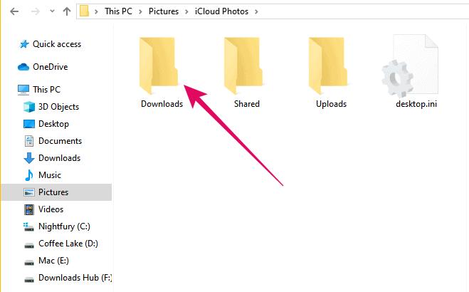 Windows iCloud photos download folder