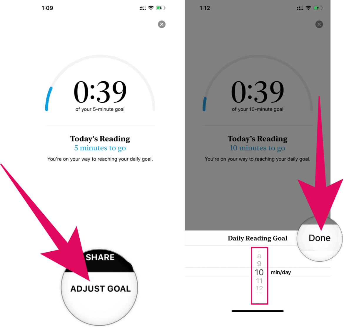 Changing daily reading goal in Apple Books app