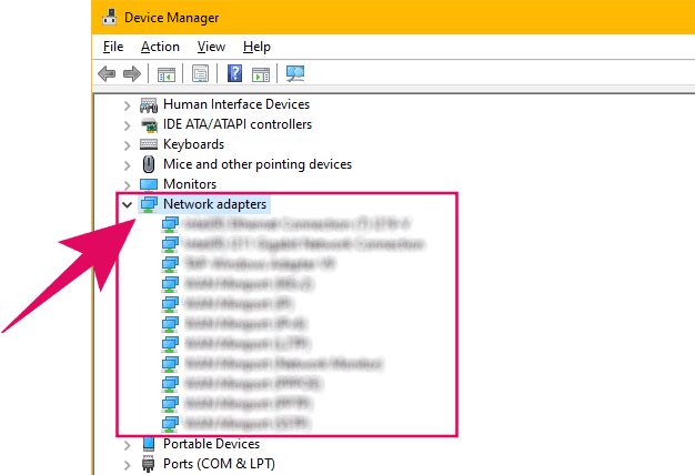 Find all Network Adapters adapters available on your PC using Device Manager