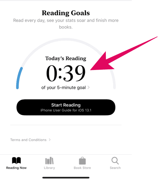 Reading Goals section in Apple Books app on iPhone