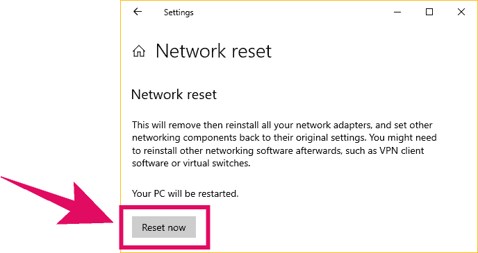 Reset Network on Windows 10