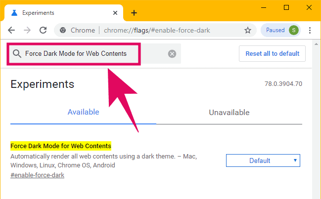 """Search for """"Force Dark Mode on Web Contents"""" on the Chrome experiments page"""