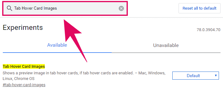 """Search for """"Tab Hover Card Images"""" feature in Chrome experiments page"""