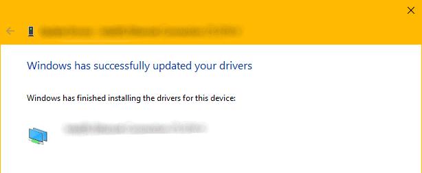 Windows Driver Update Confirmation