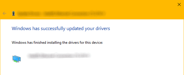Windows Driver Update Confirmation