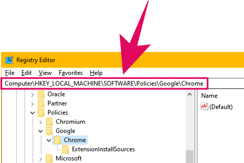 Access the Chrome policies registry values folder