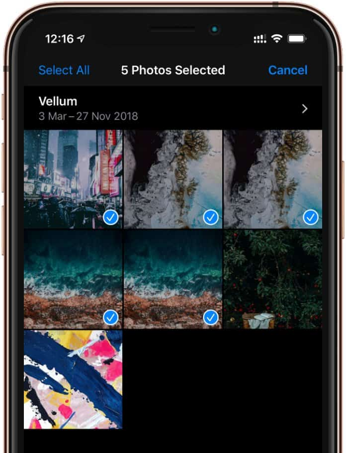Select multiple photos iPhone Photos app