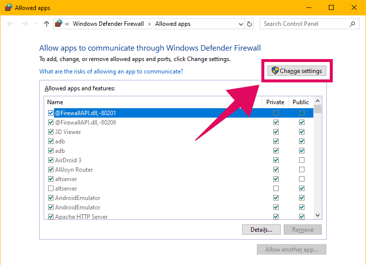 Change settings for allowed apps in Windows firewall