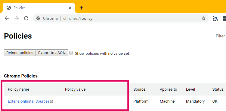 Chrome ExtensionInstallSources policy with no visible policy value