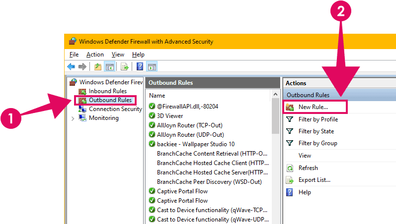 Create new outbound rule Windows Firewall