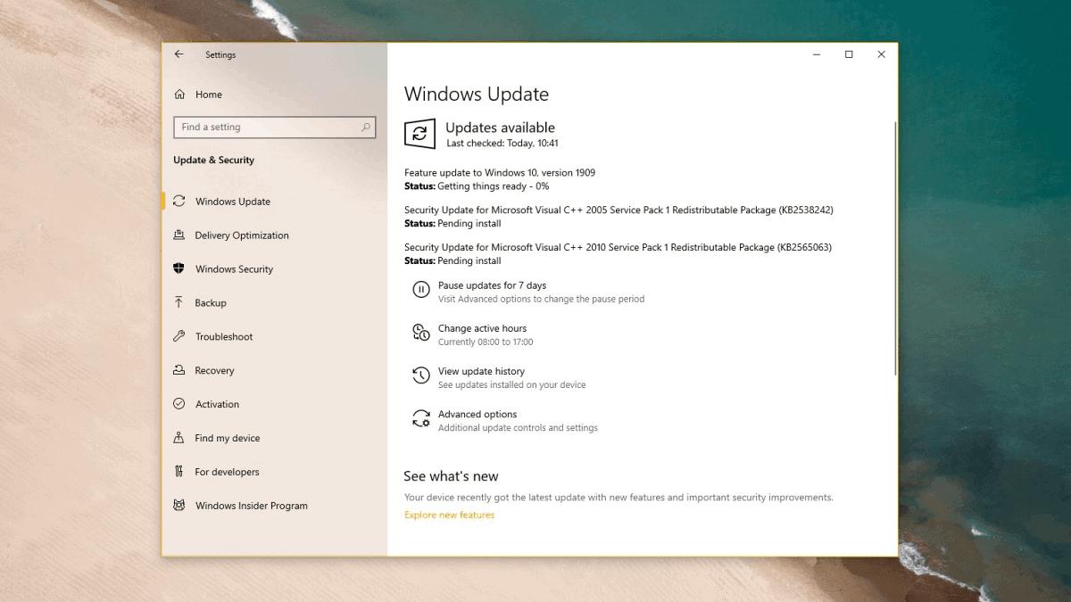 Download Windows 10 Version 1909 Update