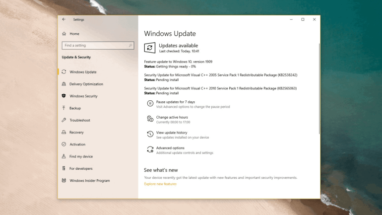 Download Windows 10 Version 1909 Update