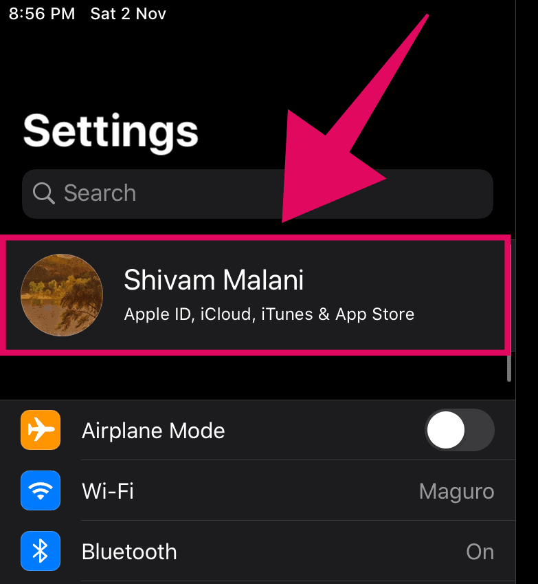 Tap on your name on the Settings screen