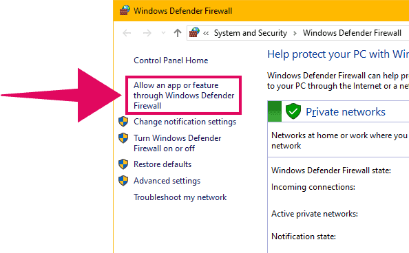 Windows Defender Firewall Allowed Apps List