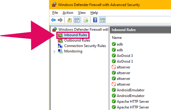Windows Defender Firewall Inbound Rules