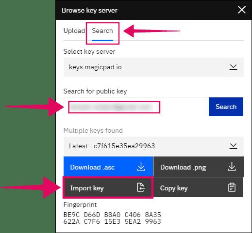 Search for public keys MagicPad