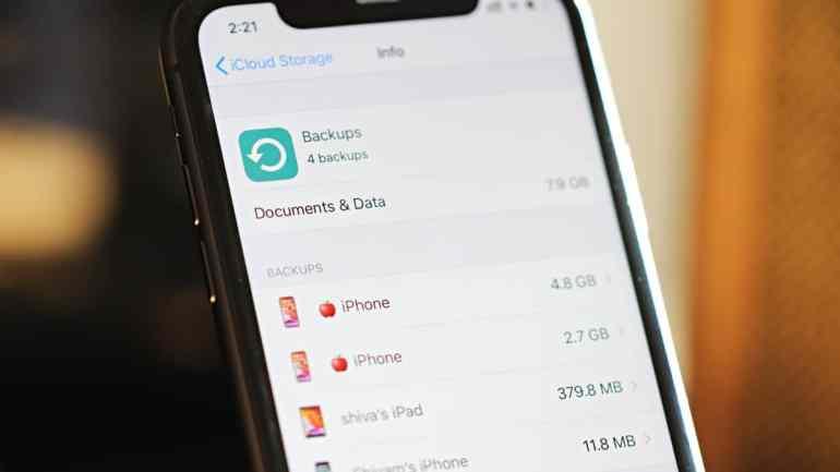 iPhone iCloud Backup Storage Usage