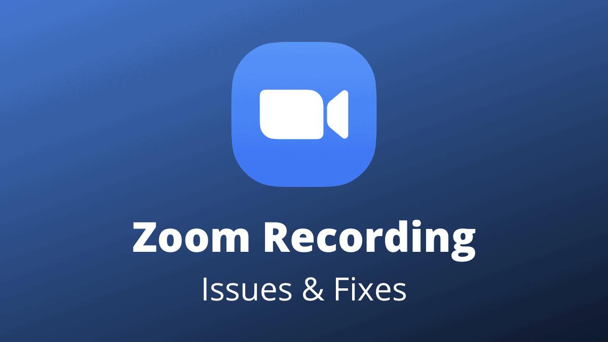 Zoom Recording Fix